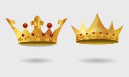 Grupo de coroa dourada real ilustração stock