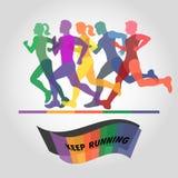Grupo de corredores Logotipo del maratón Imagen de archivo