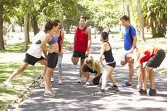 Grupo de corredores que calientan en parque Imagen de archivo libre de regalías