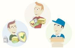 Grupo de correio engraçado dos desenhos animados Fotografia de Stock