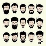 Grupo de corte de cabelo do estilo do moderno, vidros do vetor Imagens de Stock
