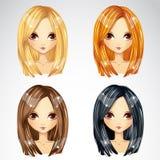 Grupo de corte de cabelo reto Fotografia de Stock
