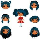 Grupo de cortes de cabelo da menina do anime Fotografia de Stock