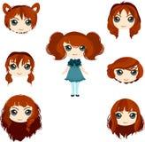 Grupo de cortes de cabelo da menina do anime Imagem de Stock Royalty Free