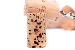 Grupo de cortiça e de corkscrew do vinho Imagem de Stock Royalty Free