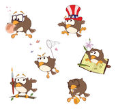 Grupo de corujas bonitos para você projeto cartoon Imagens de Stock