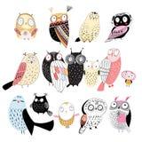 Grupo de corujas diferentes Imagens de Stock