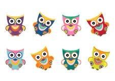 Grupo de corujas no fundo branco, ilustrações dos desenhos animados do vetor Fotografia de Stock Royalty Free