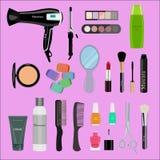 Grupo de cosméticos, de ferramentas da beleza e de produtos profissionais: hairdryer, espelho, escovas da composição, sombras, ba ilustração do vetor