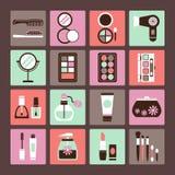Grupo de cosméticos dos ícones Foto de Stock