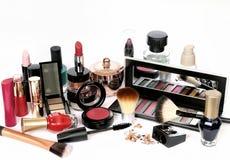 Grupo de cosméticos no fundo branco Fotografia de Stock Royalty Free