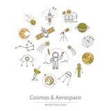 Grupo de cosmos e dos ícones aeroespaciais ilustração stock