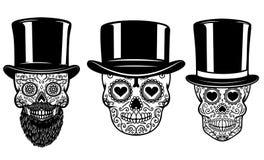 Grupo de crânio mexicano do açúcar no chapéu e nos óculos de sol do vintage Dia dos mortos Projete o elemento para o cartaz, cart ilustração royalty free