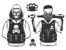 Grupo de crânio rebelde e de esqueleto da revolução preto e branco Foto de Stock Royalty Free
