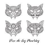 Grupo de crânios do mexicano do açúcar do gato Ilustração do vetor Fotos de Stock Royalty Free