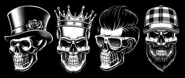 Grupo de crânios do vintage ilustração royalty free