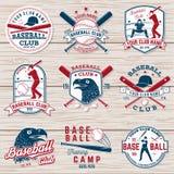 Grupo de crachá do clube do basebol ou do softball Ilustração do vetor Conceito para a camisa ou o logotipo, ilustração stock
