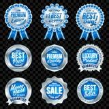 Grupo de crachás azuis da qualidade excelente com beira de prata Imagens de Stock