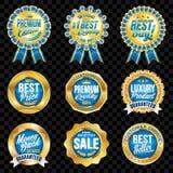 Grupo de crachás azuis da qualidade excelente com beira do ouro Fotos de Stock Royalty Free