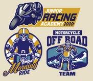Grupo de crachás da motocicleta ilustração do vetor