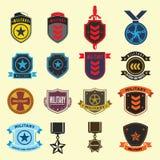 Grupo de crachás das forças militares e armadas Imagens de Stock Royalty Free