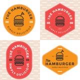 Grupo de crachás, de bandeira, de etiquetas e de logotipo para o Hamburger, loja do hamburguer Projeto simples e mínimo Foto de Stock