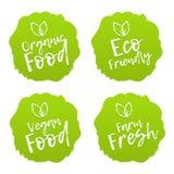 Grupo de crachás do alimento Vegetariano, orgânico, fresco, Eco Imagens de Stock