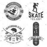 Grupo de crachás do clube do skate Ilustração do vetor Imagens de Stock