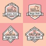 Grupo de crachás do vintage, de bandeiras, de etiqueta, de fita e de vetor do molde dos logotipos para o negócio e a loja Imagens de Stock Royalty Free