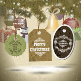 Grupo de crachás dos cristmas e de ícones do feriado, boneco de neve, presentes Imagem de Stock