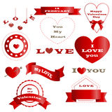 Grupo de crachás e de dia vermelhos bonitos do ` s do Valentim das bandeiras ilustração royalty free