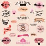 Grupo de crachás e de etiquetas da padaria do vintage ilustração stock