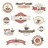 Grupo de crachás e de etiquetas do vintage do café Fotografia de Stock Royalty Free