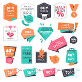 Grupo de crachás e de etiquetas lisos do estilo do projeto para comprar ilustração stock