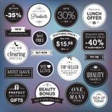 Grupo de crachás e de etiquetas luxuosos ilustração stock