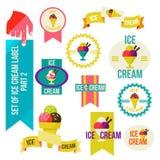 Grupo de crachás e de etiquetas modernos da loja de gelado Foto de Stock