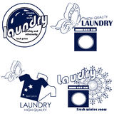 Grupo de crachás e de lavanderia das etiquetas Fotografia de Stock Royalty Free