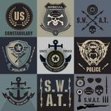 Grupo de crachás e de logotipo da aplicação da lei da polícia Fotos de Stock Royalty Free