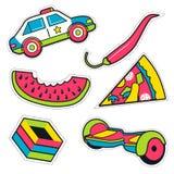 Grupo de crachás engraçados coloridos do pino Coleção do vetor brilhante Ca ilustração do vetor