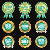 Grupo de crachás excelentes de turquesa da qualidade com beira do ouro Foto de Stock Royalty Free