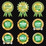 Grupo de crachás excelentes do verde da qualidade com beira do ouro Fotografia de Stock Royalty Free