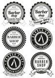 Grupo de crachás redondos bonitos da barbearia do vintage Fotos de Stock Royalty Free