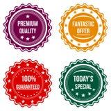 Grupo de crachás redondos coloridos Fotos de Stock Royalty Free