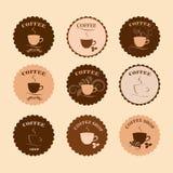 Grupo de crachás retros, de etiqueta e de etiquetas do café do vintage Fotografia de Stock