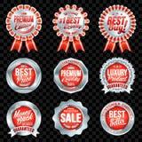 Grupo de crachás vermelhos da qualidade excelente com beira de prata Imagens de Stock Royalty Free