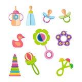 Grupo de crianças, de brinquedos das crianças e de conceito dos acessórios ilustração royalty free