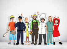 Grupo de crianças com conceitos profissionais da ocupação imagem de stock royalty free