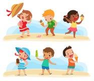 Grupo de crianças com gelado ilustração stock