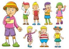 Grupo de crianças dos desenhos animados Fotografia de Stock Royalty Free