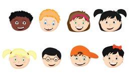 Grupo de crianças dos desenhos animados de nacionalidades diferentes imagem de stock